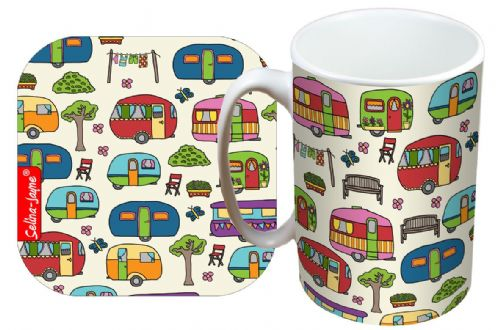 Selina-Jayne Caravan Limited Edition Designer Mug and Coaster Set